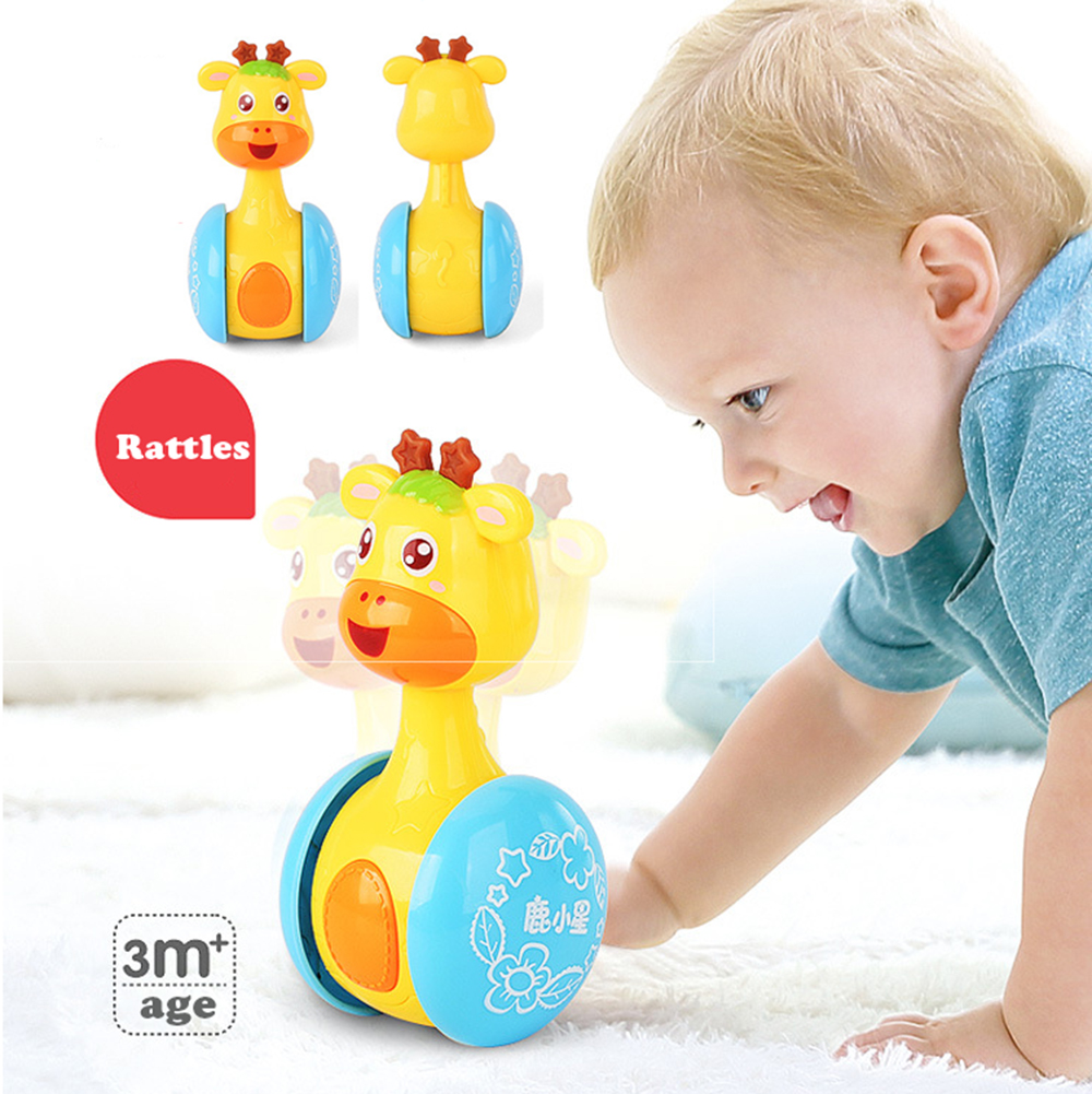 Giraffe Baby Rattles Tumbler Toddler Doll Toys Roly-poly Learning Education Musical Toys Bed Bells For Children Kids Gifts #S