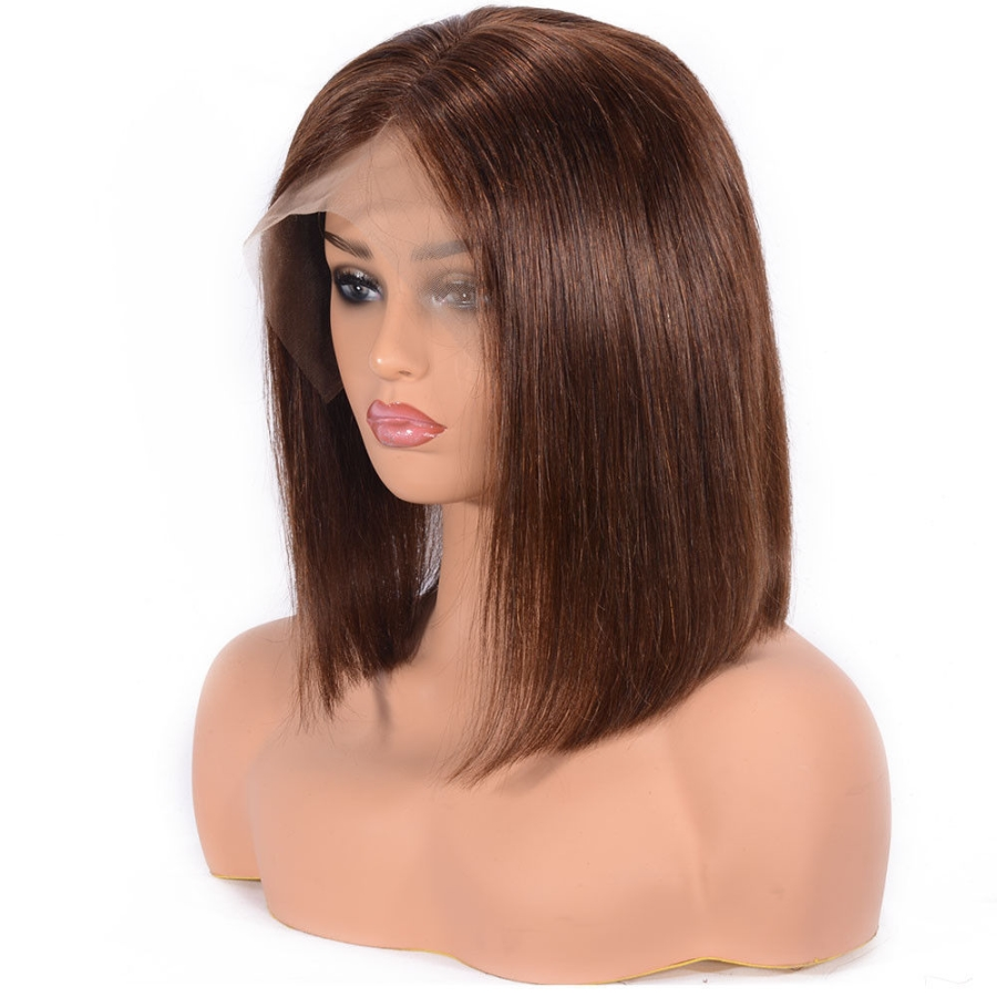 Light Brown Human Hair Bob <font><b>Wigs</b></font> Straight 180% Density 13x6 Indian Remy Hair Lace Front <font><b>Wig</b></font> with Baby Hair Free Part Color #<font><b>8</b></font> image