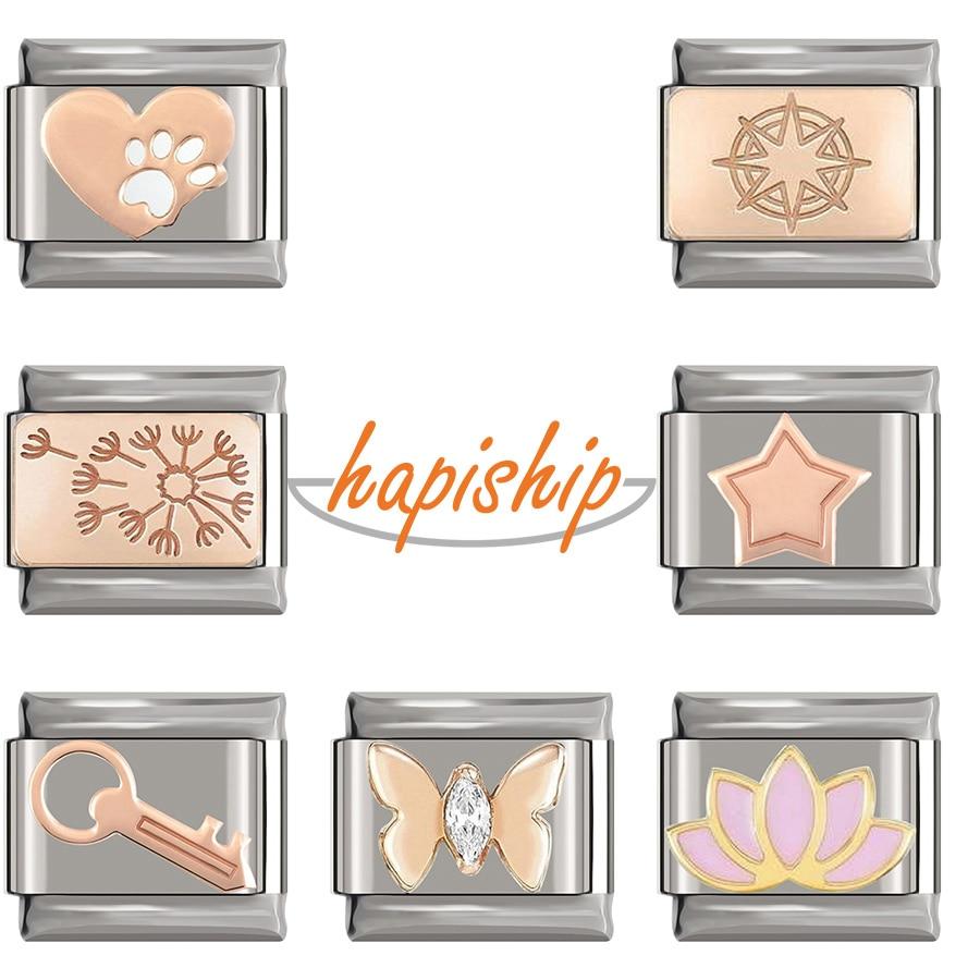 Hapiship, новинка 2020, оригинальная Маргаритка, роза, звезда, бабочка, цветок, итальянский шарм, подходит для браслета 9 мм, изготовление ювелирных...