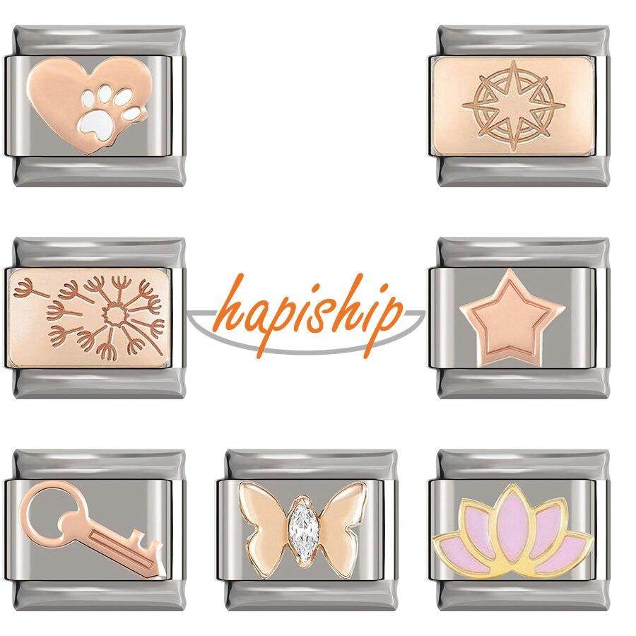 Hapiship pulseira original estrela rosa, borboleta, flor, italiana, charme, 9mm, pulseira de aço inoxidável, fabricação de joias dj274 2020