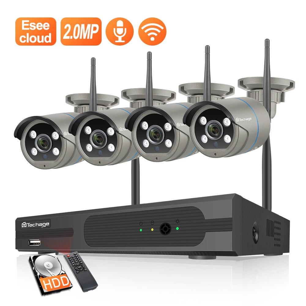 Techage 8CH 1080P Drahtlose Kamera System Zwei-weg Audio CCTV Kamera 2MP Im Freien Wasserdichte Wifi NVR Kit Video überwachung Kit