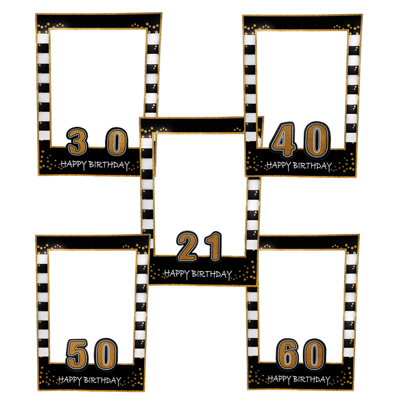 Paper Photo Frame Photobooth Props 21th 30th 40th 50th 60th Birthday Party Decorations Adult Birthday Party Photo Props Supplies