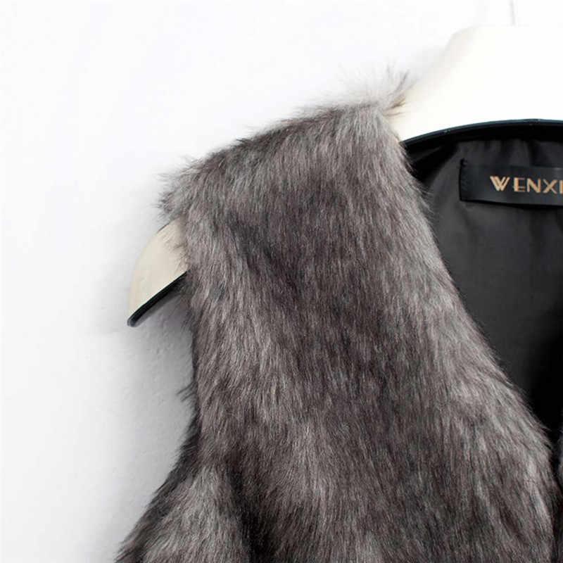 毛皮のベスト 2019 カジュアルなオープンステッチ V ネックソリッドファッションフェイクファーコート暖かいショート冬ジャケット女性 A50