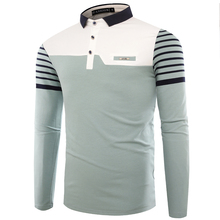 лучшая цена Long Sleeve top Men's Fashion Colorblock Lapel Long Sleeve Polo Shirt  Men's 100% Cotton Slim Business Casual Polo Shirt