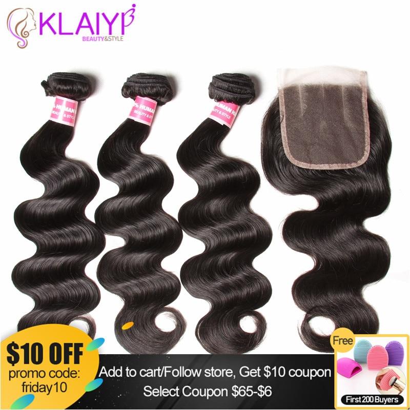 KLAIYI Hair 3 Bundles With Closure Malaysian Hair Body Wave Bundles With Closure Remy Hair Bundles With Closure Human Hair