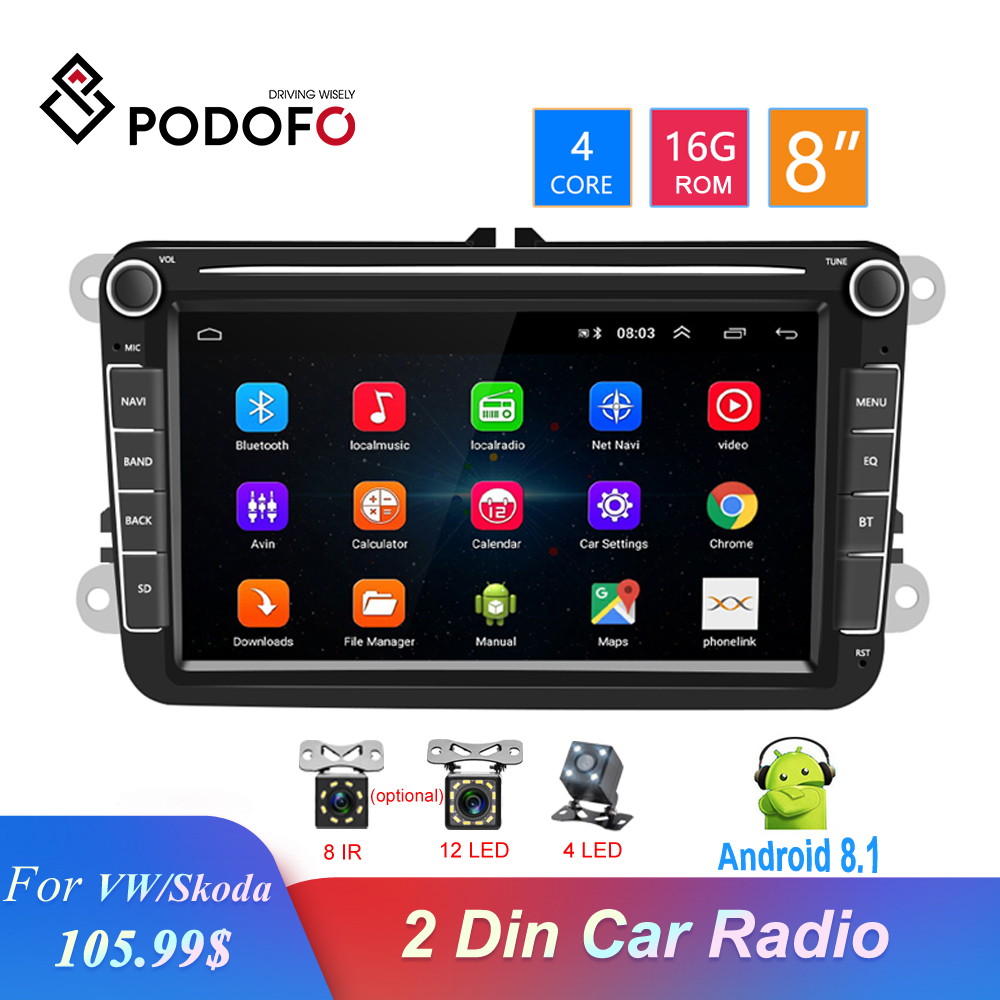 Podofo  8'' Android  GPS 2 Din Car Radio Bluetooth Auto Stereo Multimedia Player Audio For Seat/VW/Skoda/Passat/Golf/Polo