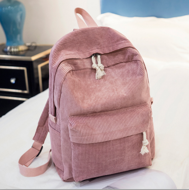 Backpack Female Teenage-Girls Preppy-Style Corduroy-Design Women for Striped Soft-Fabric