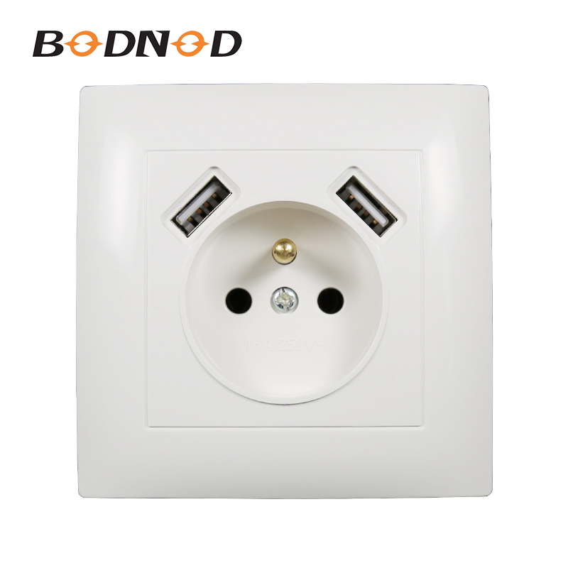 USB Wall French Socket Double USB Port 5V 2A Free Shipping  Usb Enchufes Para Pared Prise Electrique Prise Usb Murale  LC--19-A