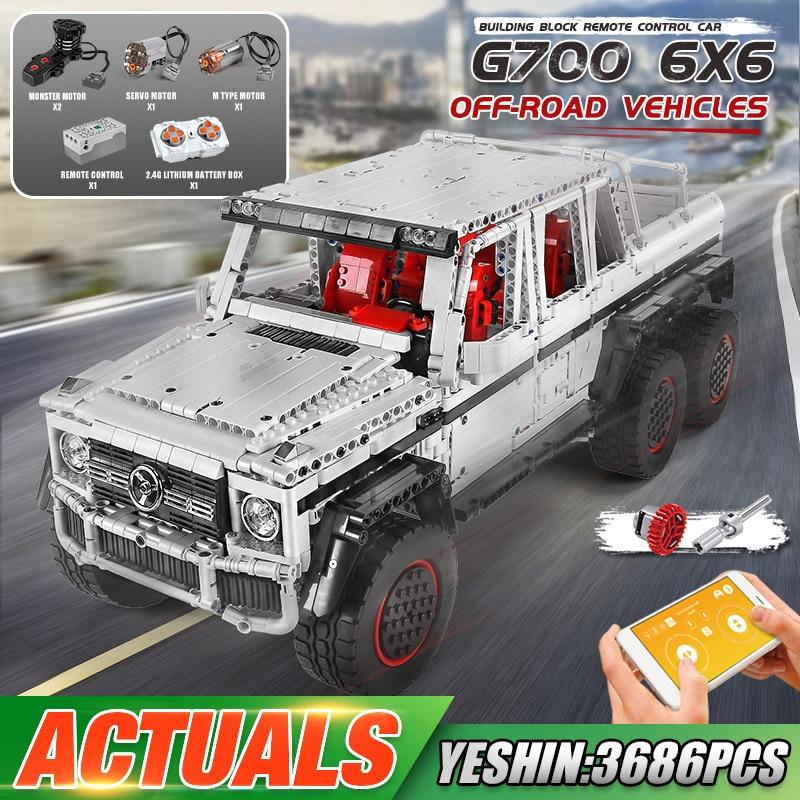 MOULD KING 13061 High-Tech Car Model The APP RC Motorized G63 6×6 SUV Car Set Assembly Building Block