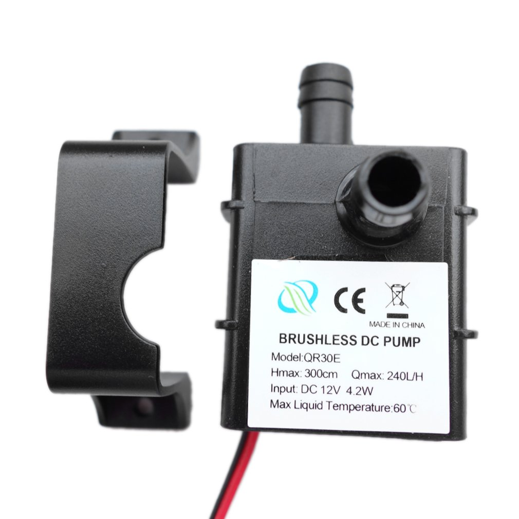 Mini Ultra-quiet Water Pump DC 12V 4.2W 240L/H Flow Rate Waterproof Brushless Pump Low Consumption QR30E New Arrival  2018