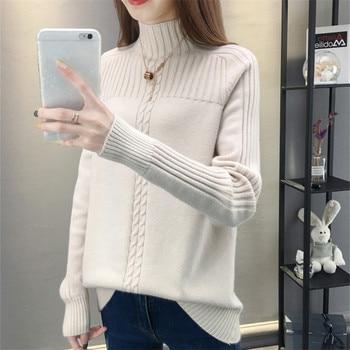 Half turtleneck Sweater Knitted Pullover Female Autumn Winter Top Raglan sleeves Warm Sweater New Knitted Pullover Sweaters Tops pullover frayed hem knitted top