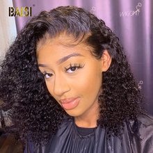 BAISI Krullend Lace Front Menselijk Haar Pruiken Met Baby Haar Indian Virgin Hair Kort Krullend Bob Pruiken Lace Front Human haar Pruiken