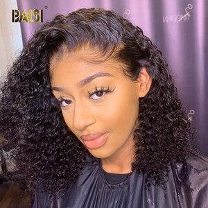 Image 1 - BAISI מתולתל תחרה מול שיער טבעי פאות עם תינוק שיער הודי שיער לא מעובד קצר מתולתל בוב פאות תחרה מול שיער טבעי פאות