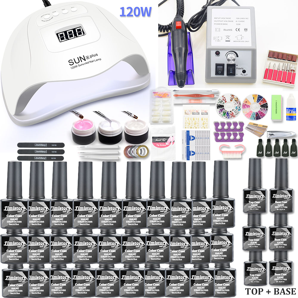Nail Set 120/54W UV LED Lamp Gel Nail Polish Set Kit & 20000RPM Electric Nail Drill Nail Art Tools Manicure UV Extension Kit