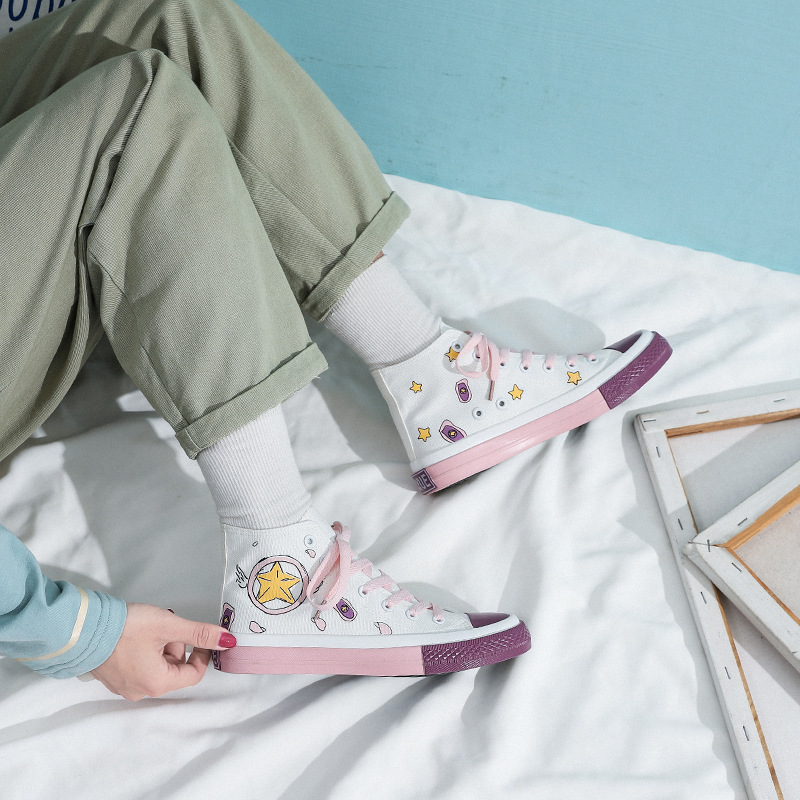 Spring 2020 Designer New Hand-painted Anime Pattern Cute Girl Sweet Pink High-top Canvas Womens Shoes Chic Leisure Flat Sneakers