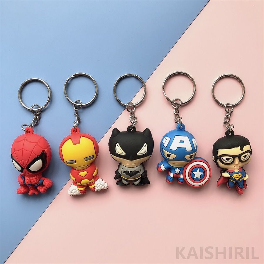 3D Cartoon Figure PVC Marvel Avengers Keychain Aveng Cute Superhero Batman Key Chain Bag Key Ring Kids Key Holder Trinket Gift