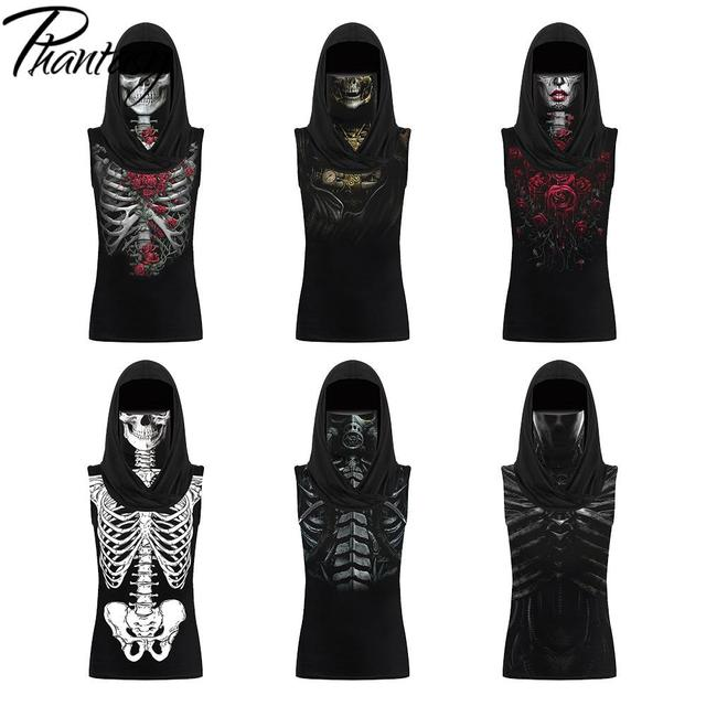 Phantasy Skull Skeleton T-shirts Women Print Clothing Hooded Face Mask Tshirt Halloween Cosplay Scarf Tops Sleeveless Streetwear