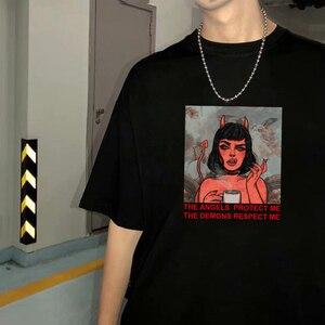 Женская футболка с рисунком THE Angels Protect Me, DEMONS Expect ME, модная одежда для девушек и женщин