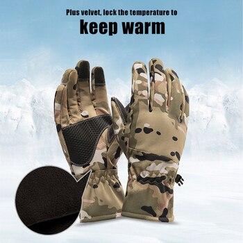 Queshark Women Men Winter Camouflage Hunting Gloves Warm Anti-slip Fishing Gloves Waterproof Touch Screen Skiing Camping Gloves 3