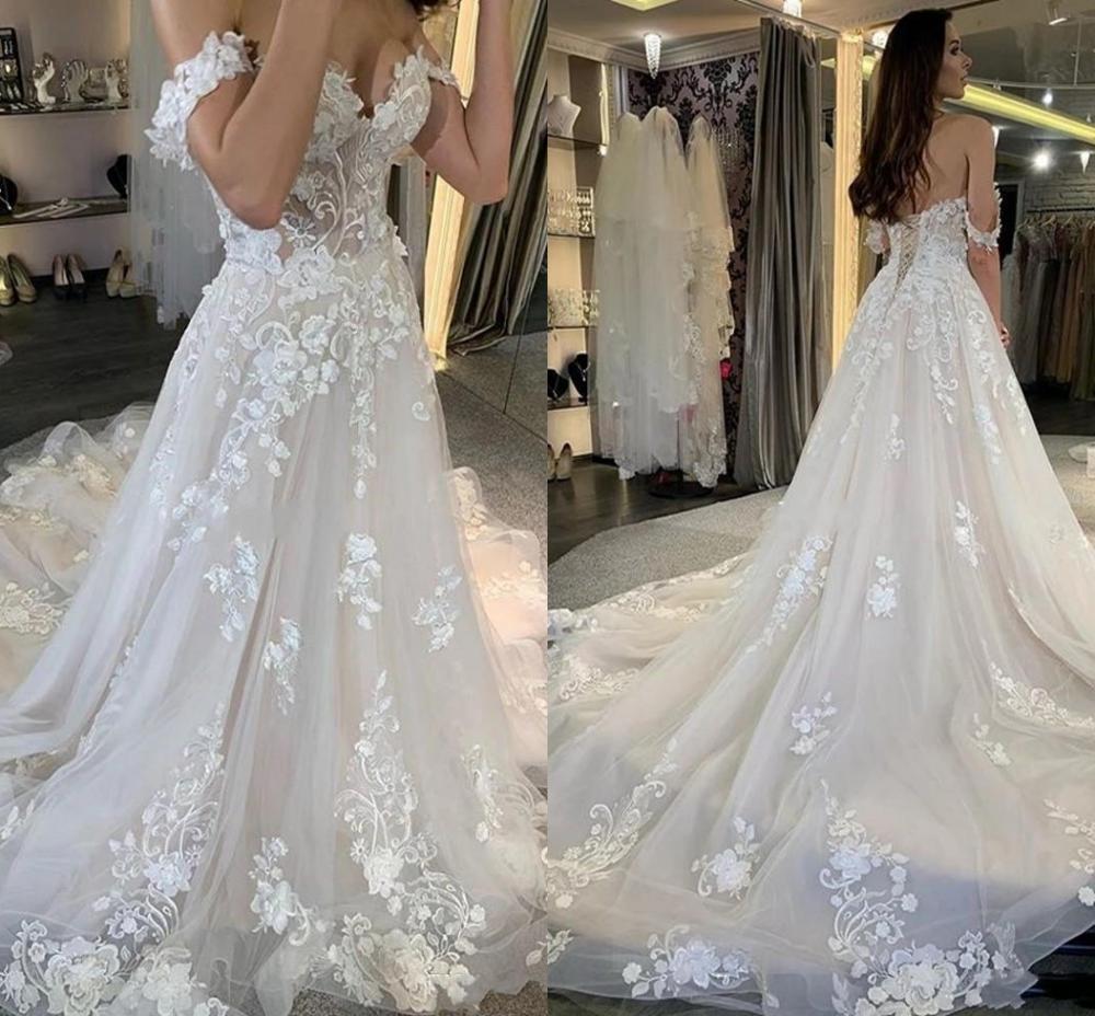 2020 Off Shoulder Lace Wedding Dresses For Bride Appliques Sweep