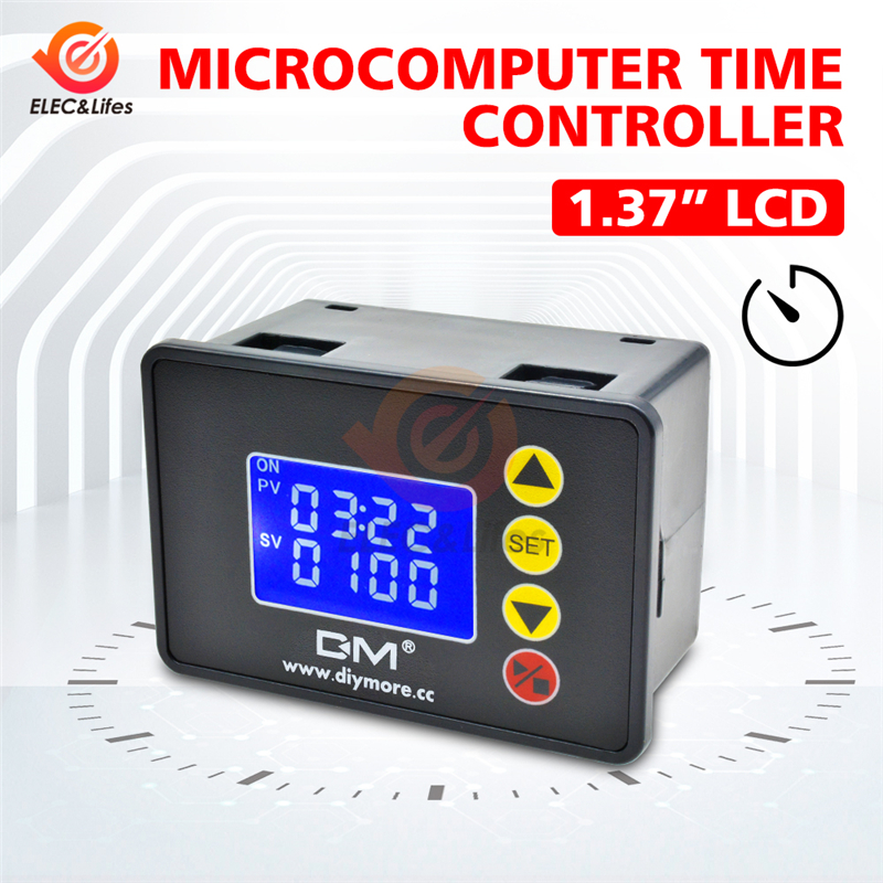 DC 12V <font><b>24V</b></font> AC 110V <font><b>220V</b></font> Digital Cycle Timer Delay <font><b>Relay</b></font> Module with Dual LED Display Time Controller Timing <font><b>Relay</b></font> Switch image