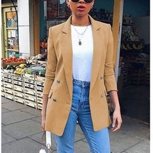 New 2019 Blazer Womens Suit Jackets Long Solid Coats Office