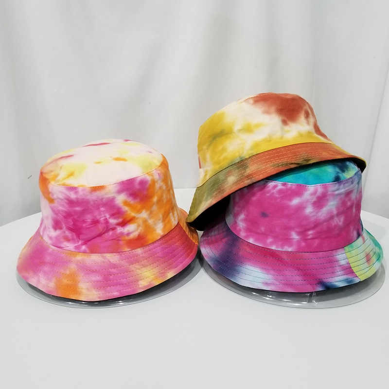2020 New Unisex Fashion Summer Reversible Black White Rainbow color Printed Fisherman Caps Bucket Hats Gorro Pescador Men Women