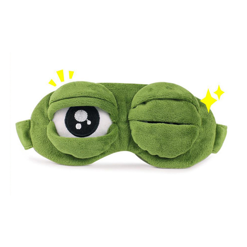 Kids Sleep Mask Cute Sleeping Eye Mask Plush Eye Cover Sleeping Mask 3D Frog Green Eye Band Rest Eyepatch Eye Blindfold