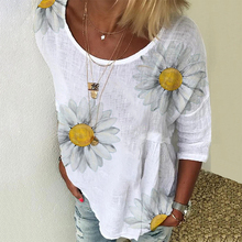 Elegant Women O-Neck Shirt Blouse Summer Casual Three-Quarte