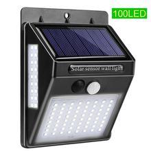 100 светодиодный солнечный датчик движения настенный светильник водонепроницаемый садовый фонарь Декор