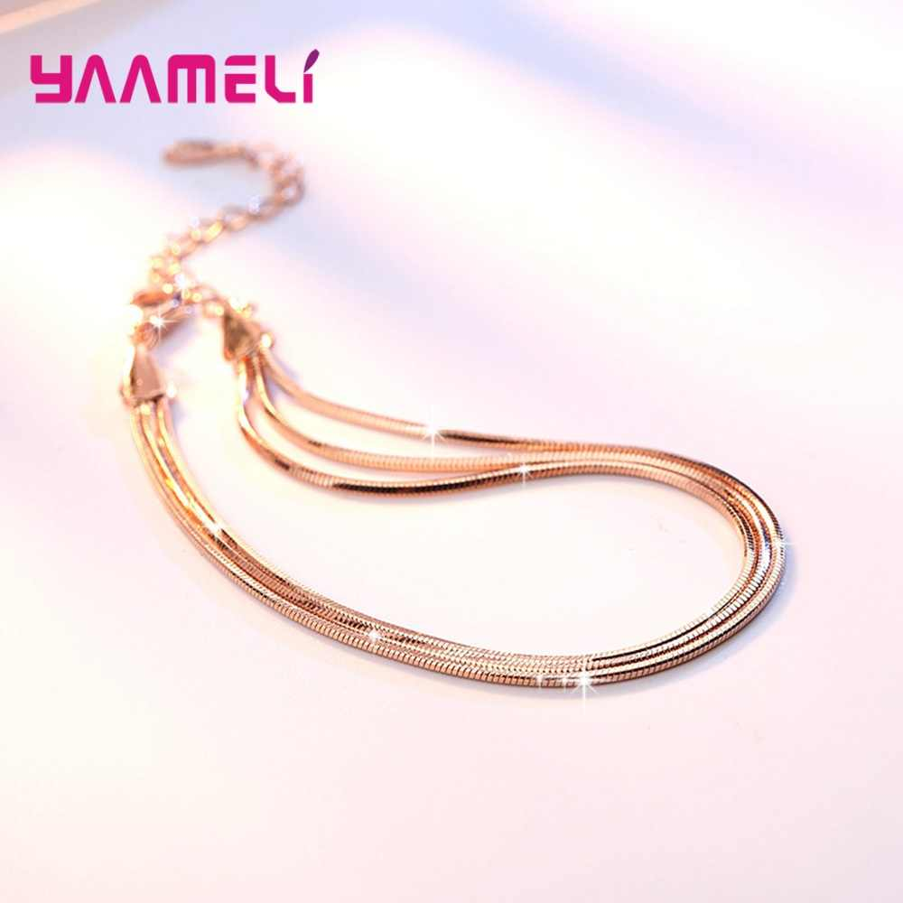 Charming Multilayers Snake Chain Bracelets for Man Woman Smooth 925 Sterling Silver with Extender Chain/Lobster Clasps