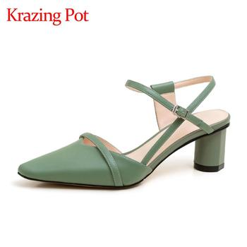 Krazing pot 2020 new genuine leather round high heels small square toe cross band buckle straps women shoes summer sandals L20