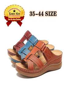 Sandals Shoes Non-Slip Wedge-Shaped Women Low-Heeled Comfortable Summer. New in Retro