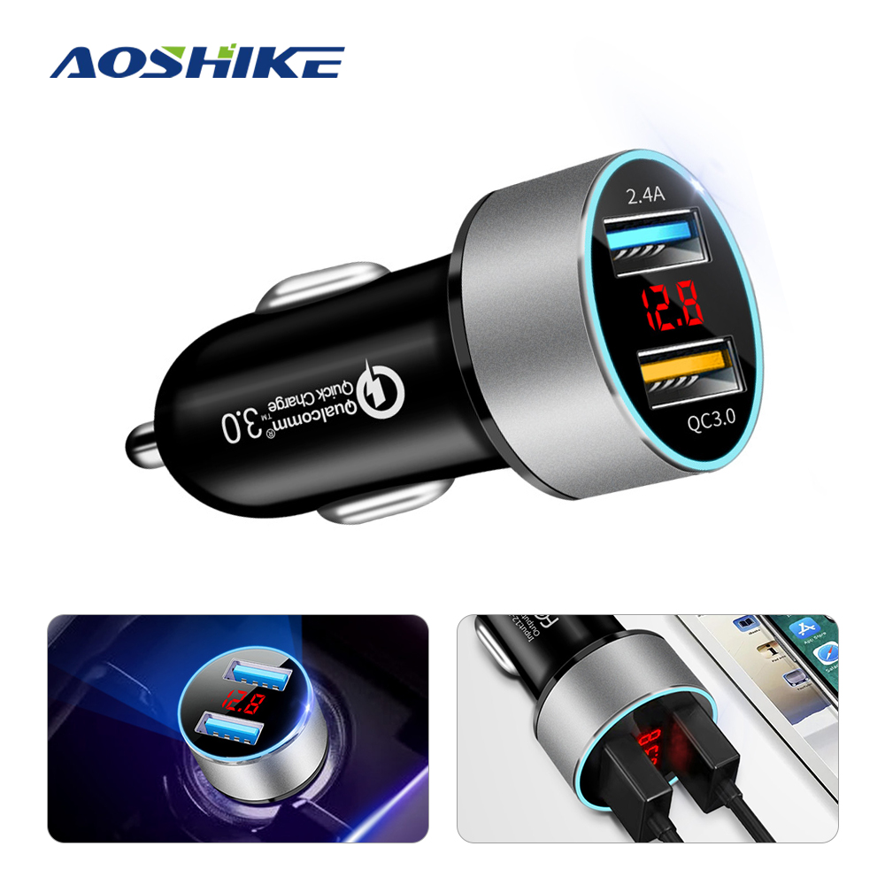 AOSHIKE Car Charger for Phone Dual USB Fast charger QC 3.0 Digital LED Voltage Display Usb Charger for iPhone 7 11 Huawei Xiaomi