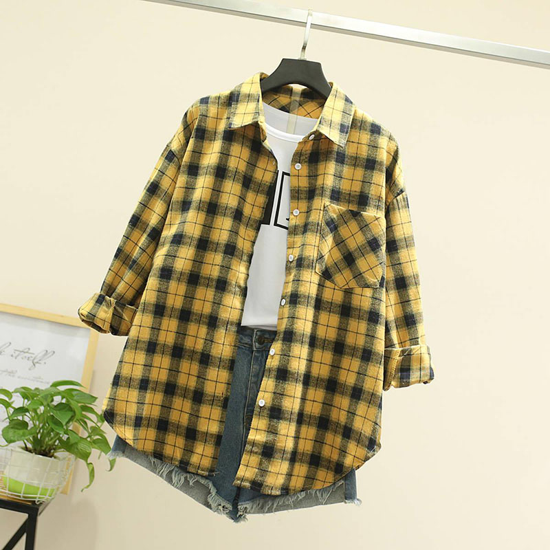 Women Spring Summer Style Blouses Shirts Lady Casual Long Sleeve Turn-down Collar Plaid Printed Blusas Tops ZZ0750 7