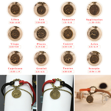 12 constellation leather bracelets round pattern charm bracelet mens and womens accessories gifts