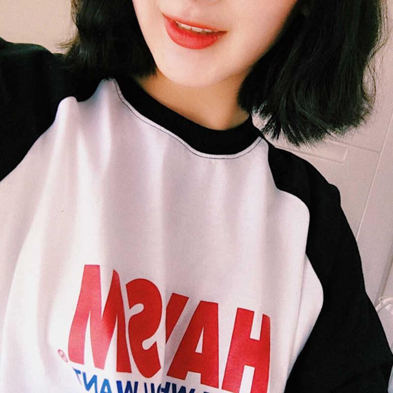 T-shirts Phụ Nữ Loose Letter In Ấn Harajuku Womens Dài Tay Áo T-Shirt Giải Trí O-Cổ Hàn Quốc Phong Cách Tất Cả Các Trận Đấu Đơn Giản Sinh Viên