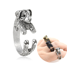 Drop Shipping Vintage Australian Shepherd Border Collie Dog Ring Men Boho Couple Kpop Rings For Women Jewelry Best Friend Anel