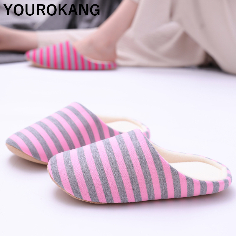 Autumn Winter Women Home Slippers Indoor Bedroom Floor Flip Flops Lightweight Mute Striped Shoes Warm Household Family Slippers in Slippers from Shoes