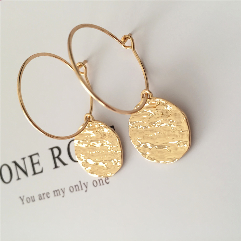 Simple Designed Hoop Earrings Gold Color Water Surface Round Disk With Thin Hoop Earrings For Women Casual Wearing