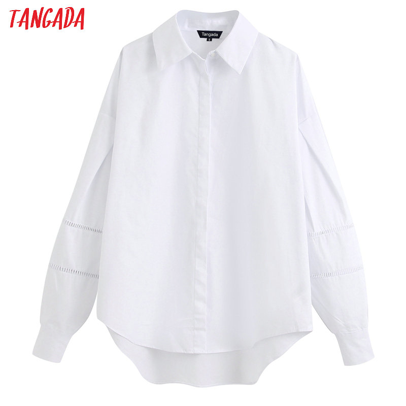 Tangada Women Oversized White Shirts Lace Patchwork Long Sleeve Solid Korean Style Ladies Casual Loose Blouses BE260