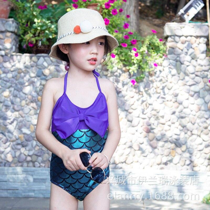 2020 South Korea INS KID'S Swimwear Europe And America New Style Children One-piece Bikini Bathing Suit Mermaid Swimsuit