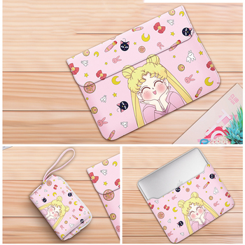 2020 PU Leather Laptop Sleeve For Macbook Air Pro 11 13 14 15 inch Laptop Case for Xiami HP DELL Cartoon Lenovo Sailor Moon Bag envelope laptop bag super slim sleeve pouch cover microfiber leather laptop sleeve case for lenovo yoga 720 13 15 inch