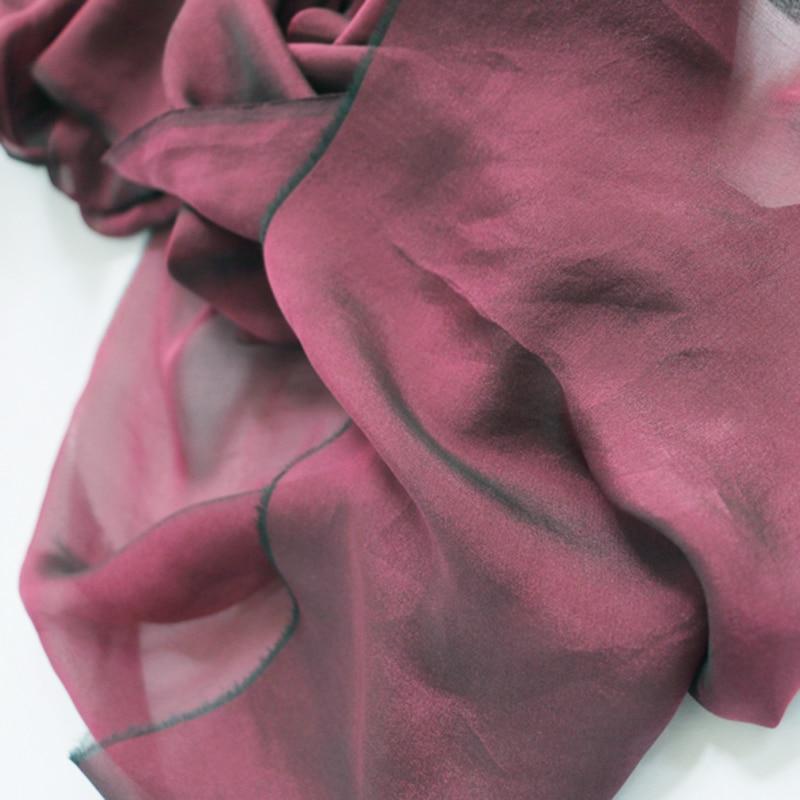 1 meter X 1.34 meter 2 Tone Yarn Dyed Silk Fabric Fuchsia Black Natural Silk Chiffon Gauze Hanfu Material