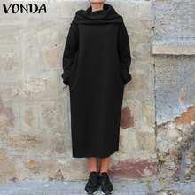 Plus Size Women Hoodie Dress VONDA 2019 Winter Solid Color Casual Long Party Vestidos S-5XL Bohemian Tunics Robe