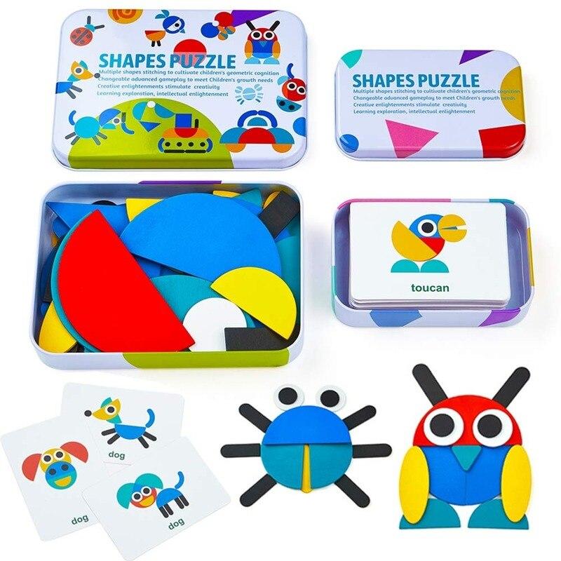 Quebra-cabeças colorido de madeira para crianças, padrão de animais, montessori, educação precoce, jogos de brinquedo, presente para crianças