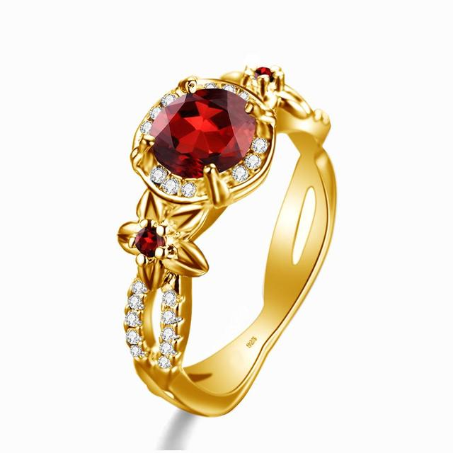 100% 14K Gold Rings For Women Real 925 Sterling Silver Boho Exquisite Flower Carve Garnet With Diamond Gemstone Fine Jewelry