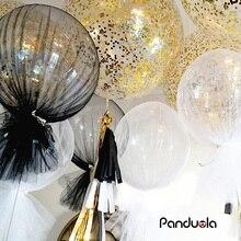 36 inç konfeti balon tül yuvarlak dev balonlar mutlu yıllar yeni yıl düğün noel noel dekorasyon parti Fovors Globos