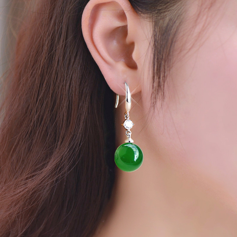 925 Sliver Emerald Jade Jewelry Earrings Natural Green Agate Chalcedony Gemstone Drop Garnet Diamond for Women