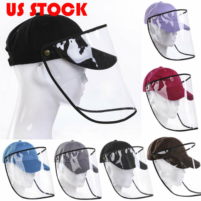 Baseball Hat With Protective Clear Mask Saliva-proof Dust-proof Safety Hats Sun Visor Cap